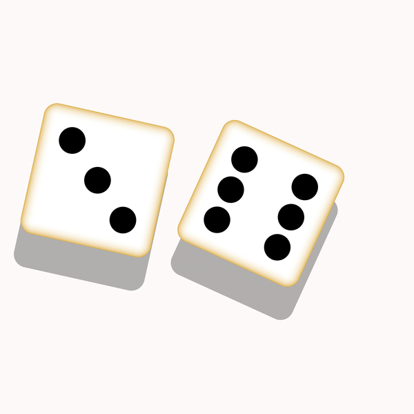 Dice 2: A graphic of a pair of dice with three and six dots showing.