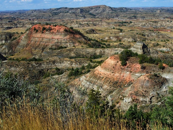 Badlands in North Dakota: This part of the Badlands can be found in Theodore Roosevelt National Park. It is a colorful scenery near