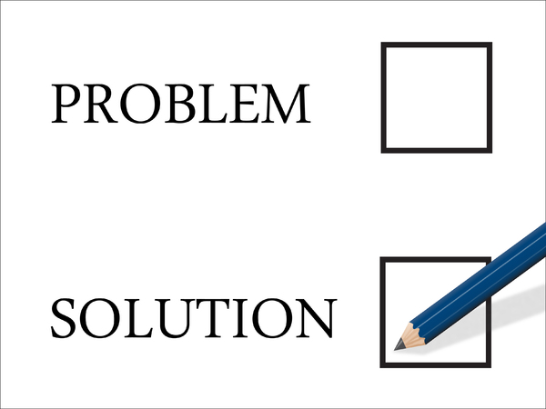 Solution: Solution selection with pencil poised to make a mark in the tick-box.