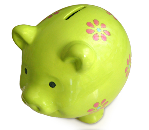 Green Piggy Bank Isolated