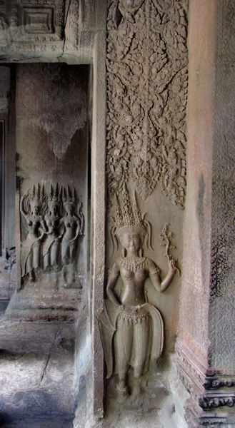 temple dancers25: artistic carvings of temple dancers at Cambodia's Angkor Wat temple complex