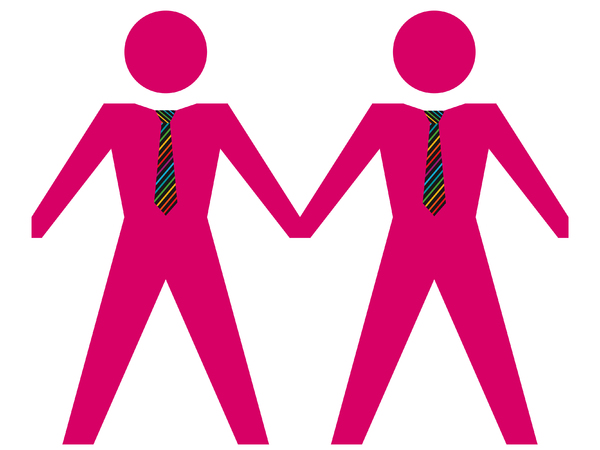 Same Sex Couple - Male 2: Gay male couple in pink with rainbow ties.