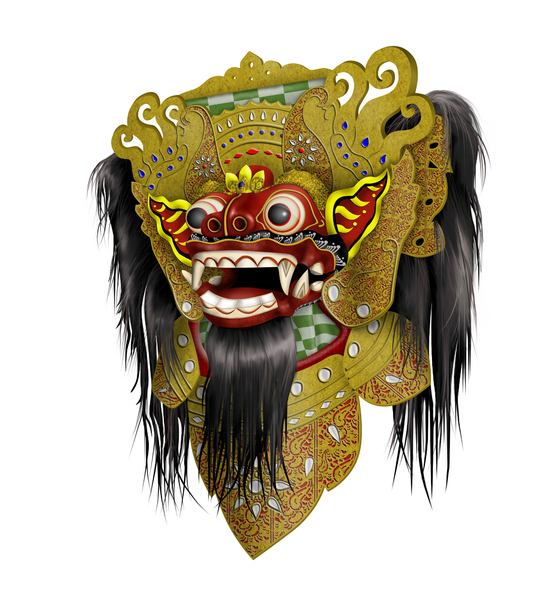 Balinese Barong Mask: This image is created using Adobe Photoshop, I removed its background for easier masking. 