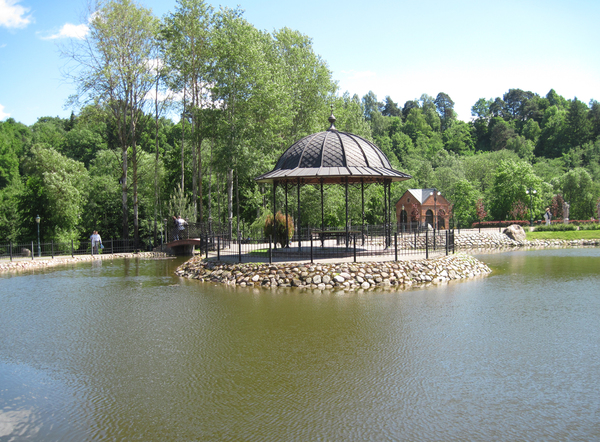 A pond and Gazebo