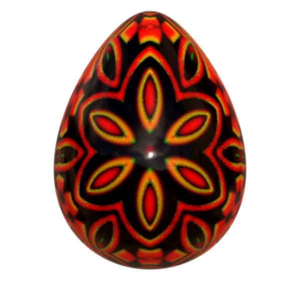 Decorated Egg 1: A brightly decorated easter egg in vivid colours with a metallic trim.