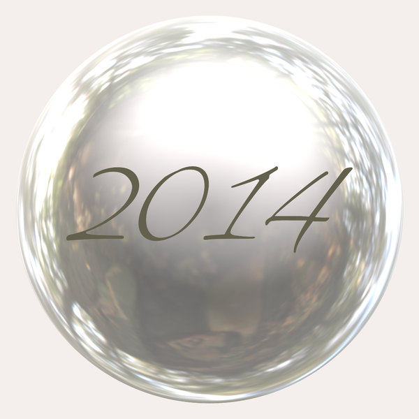 2014 a: A 2014 button or sphere.