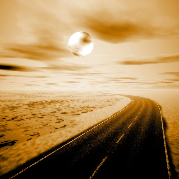 Moving On 3: An empty highway running along the coast, with clouds and a moon in the sky, in sepia tones.