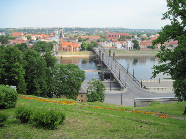 Kaunas panorama: Kaunus is the second-largest city in Lithuania and has historically been a leading centre of Lithuanian economic, academic, and cultural life.
