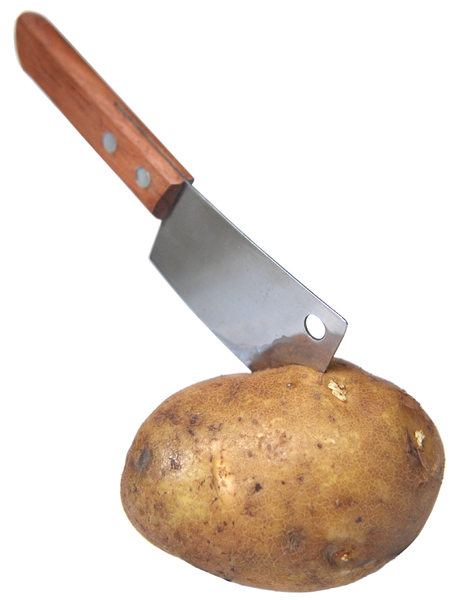 Spud Chopper: Mini cleaver chopping through a potato.