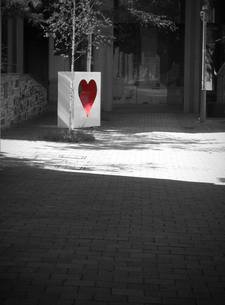 Heart of the city: One of Adelaide, Australia's moving sculptures. One day you find them in a secluded side street, the next a bustling shopping precinct. I found this one and made a Valentine for my husband (not this shot though). Enjoy!