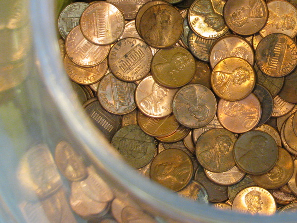 Penny Wars - Artistic Pennies: A Penny Wars fundraiser event. Artistic viewpoint of a group's jar of pennies -- they're doing good!