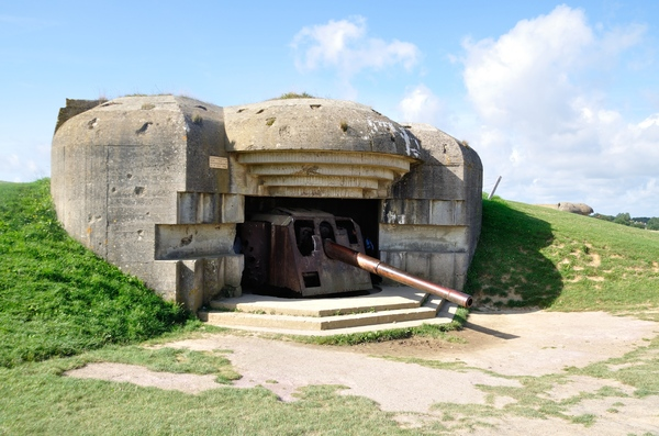 Bunker 2: Remains of a German bunker of World War II at Longues-sur-Mer, Normandy, France