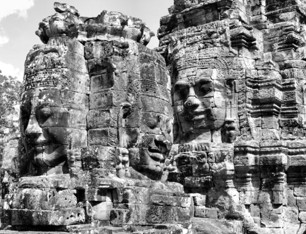 Cambodian faces11: carved faces at Angkor Bayon temple complex in Cambodia