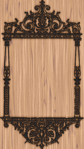 Wood Branded Tile 1: An ornamental pattern made by burning or branding wood. Can be tiled for a great background. Made from a vintage public domain image.