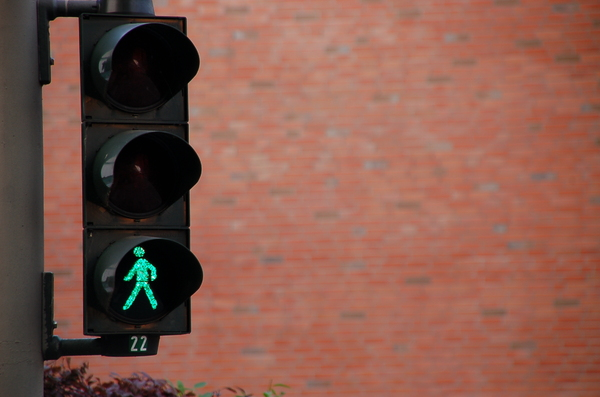Green man: Taking a walk in downtown Hamburg