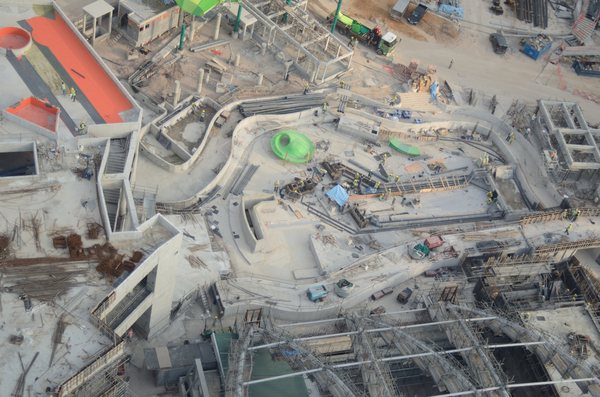 Aerial view of construction si: Shot from a cable car, an aerial view of upcoming attractions at Sentosa island in Singapore.