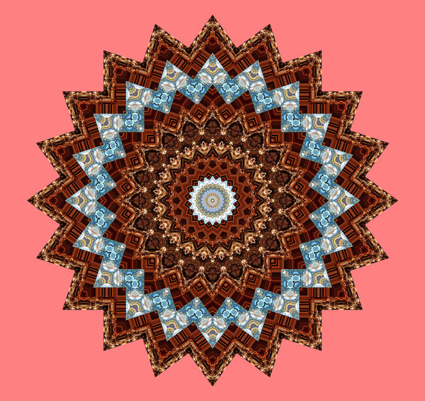 brown stripe mandala: abstract background, texture, kaleidoscopic pattern and perspectives