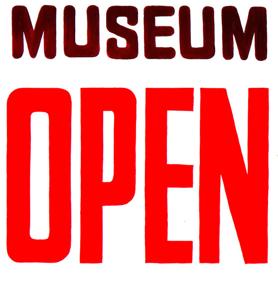 open museum1: museum open for visitors sign