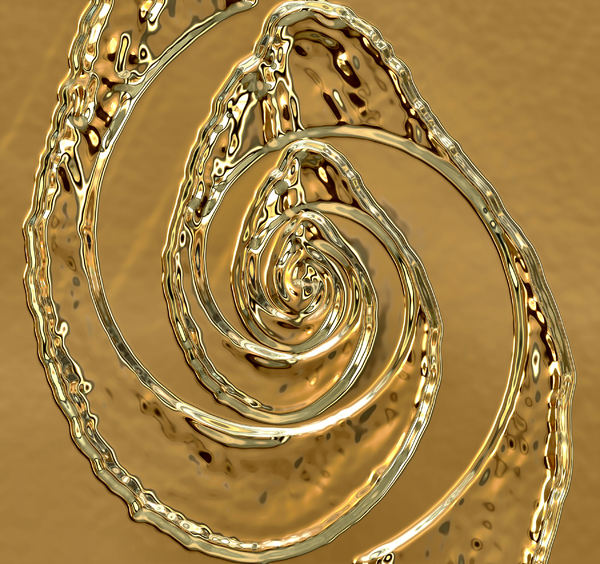 liquid gold spiral: abstract background, texture, patterns and perspectives