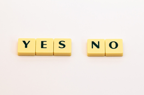 Words: Yes & No: A simple picture of letters forming the words yes and no