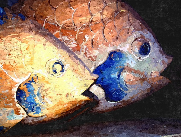 Fish Painting: Wooden fish ornaments rendered as oil painting.