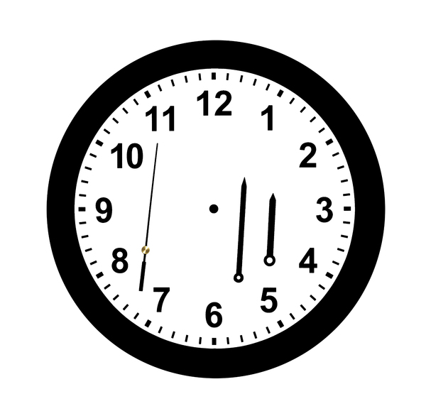 Clock Kit Project: Actual photo of a disassembled clock face and hands. Use as a project to select the hands and place on the clock face at any time you choose.