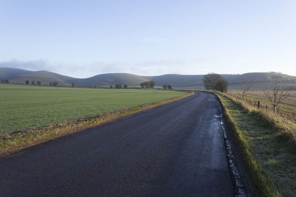 Country road: A country road in early morning sunlight in winter in Wiltshire, England.