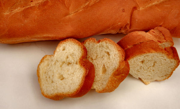 French loaf3: a cut long French stick bread loaf