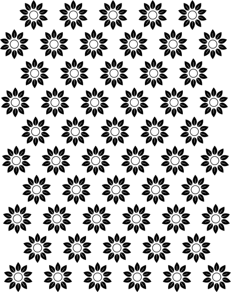 Flower Pattern: Simple black and white floral pattern.