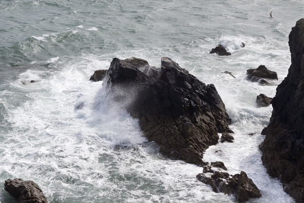 Fierce sea: Fierce waves on coastal rocks in Pembrokeshire, Wales.