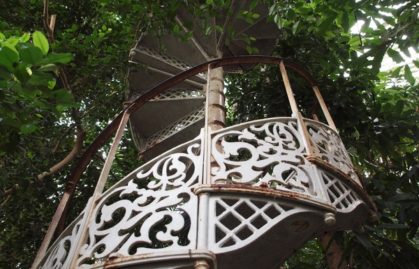 Staircase into the green: Old staircase in cast iron leading into tree tops