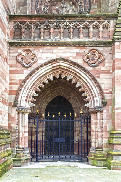 Cathedral entrance (HDR): A gated entrance to Hereford Cathedral, England. Photography of the publicly accessible parts of this building was freely permitted.