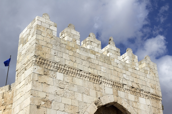 Jerusalem castle: Fortified gatehouse of the ancient Tower of David in the Old City of Jerusalem, Israel. Photography at this site was freely permitted.