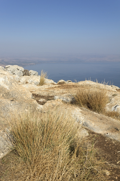 Sea of Galilee: View of the Sea of Galilee from the top of Mt Arbel national park, Israel.