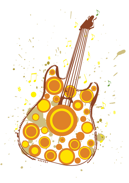 Autumn Rock: Grungy Illustration of Autumn Themed Guitar