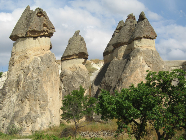 Fairy Chimneys: A few of the many fairy chineys in the Zelve valley, Cappadocia, central Turkey