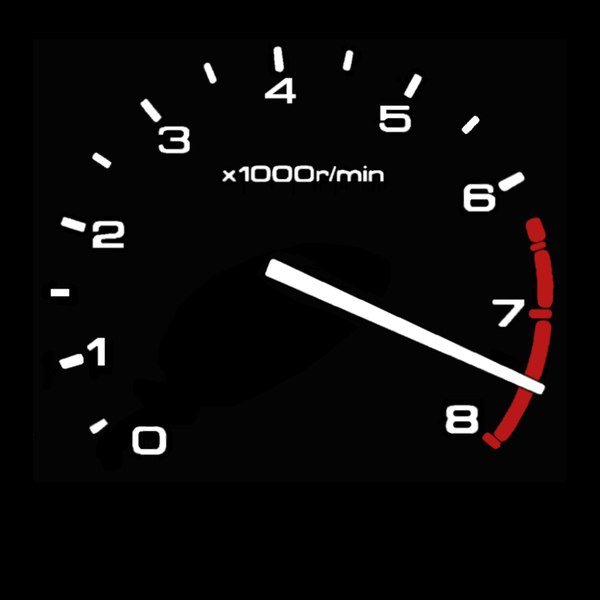 RPM gauge - Red Line: RPM gauge showing damaging engine speed