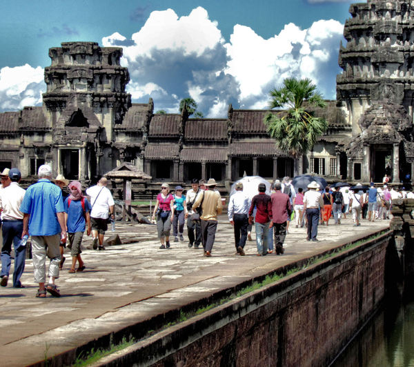 follow the crowd6: crowd of visitors at Cambodia's Angkor Wat temple complex