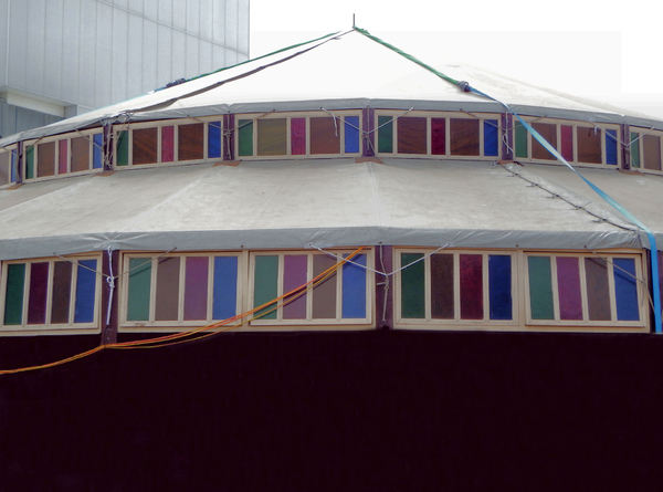 colored windows in the round1: temporary round structure with high placed coloured windows