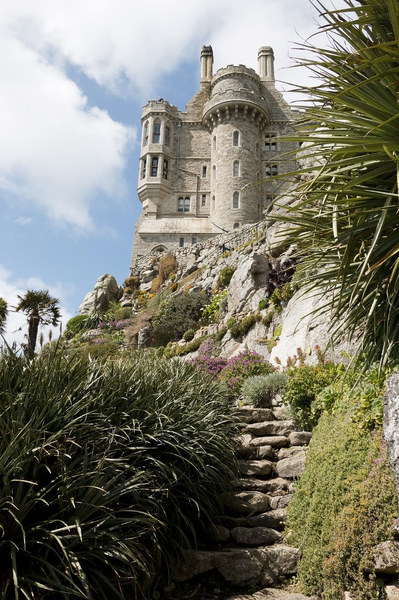 Castle: The castle on St. Michael's Mount, Cornwall, England. Photography of this National Trust property was freely permitted.