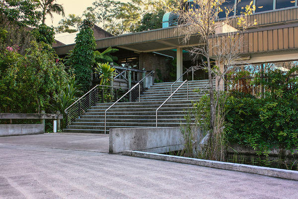 Stairs to Building: Public Stairs at Council Chambers Murwillumbah NSW Australia