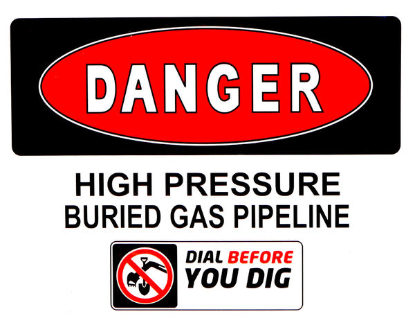 gas danger2: warning sign near below ground major gas pipeline