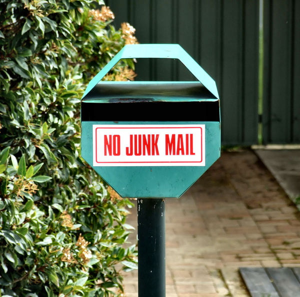 postbox limitations: no unwanted or unsolicited items wanted in post box