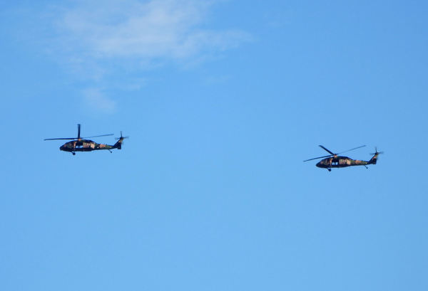 military flyover7: daytime military helicopter flying exercises