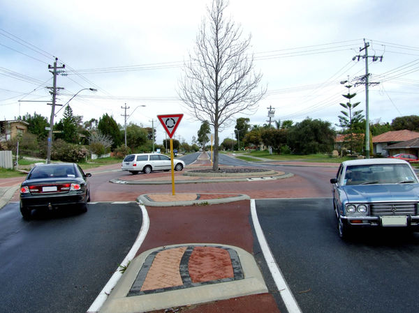divided road4: left-hand drive vehicles on Australian divided suburban roads