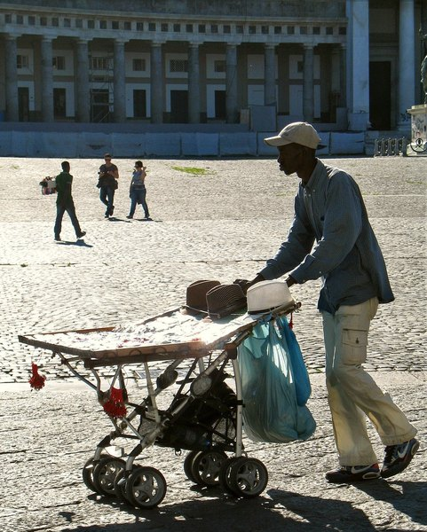 Hunting for prey...: street sales on a wheels- (Europe, Italy, Naples/Napoli)