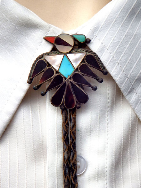 TIEd to fashion5: shapes, sizes, colors and materials of ties in men's changing fashion - native American Zuni thunderbird bolo tie