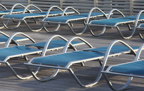 Loungers in rows