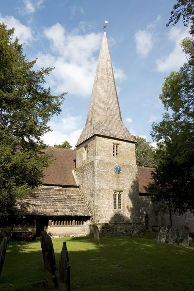 Old church: An old parish church in a rural area of West Sussex, England.