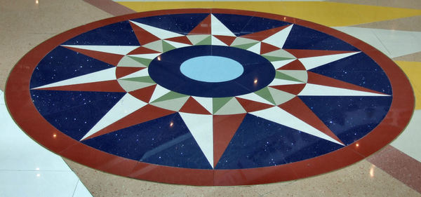 encompassing floor circle1: polished stone floor compass points feature